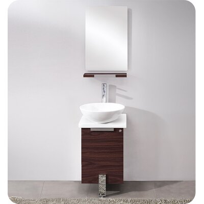 Adour 17 Single Modern Bathroom Vanity Set with Mirror Base Finish: Dark Walnut