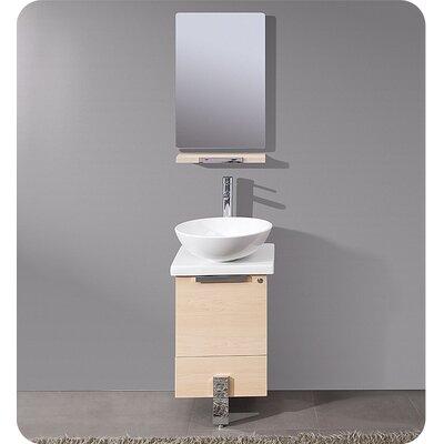 Adour 17 Single Modern Bathroom Vanity Set with Mirror Base Finish: Light Walnut