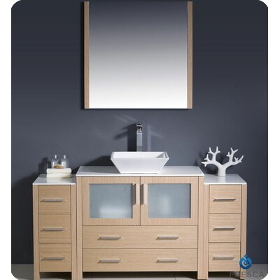 Torino 60 Single Modern Bathroom Vanity Set with Mirror Base Finish: Light Oak