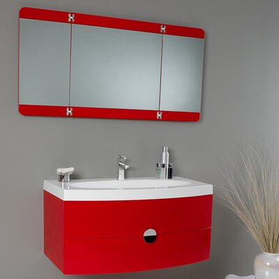 Lucido 36 Single Energia Modern Bathroom Vanity Set with Mirror Base Finish: Red