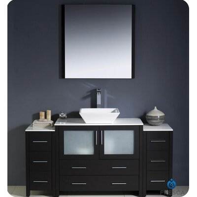 Torino 60 Single Modern Bathroom Vanity Set with Mirror Base Finish: Espresso