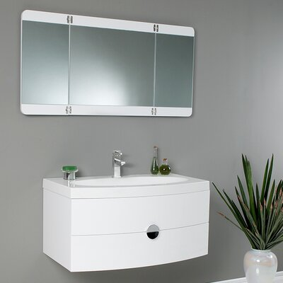 Lucido 36 Single Energia Modern Bathroom Vanity Set with Mirror Base Finish: White