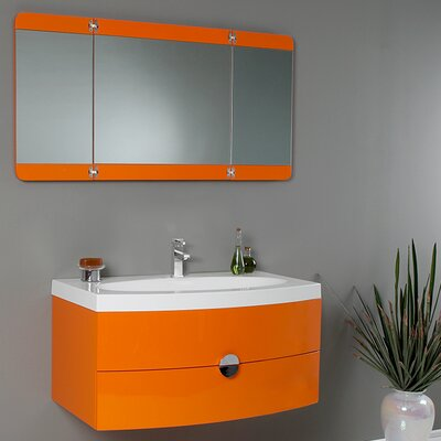 Lucido 36 Single Energia Modern Bathroom Vanity Set with Mirror Base Finish: Orange