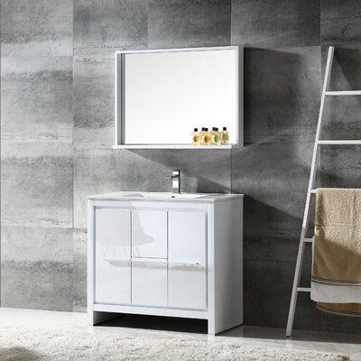 Allier 36 Single Bathroom Vanity Set with Mirror Base Finish: White