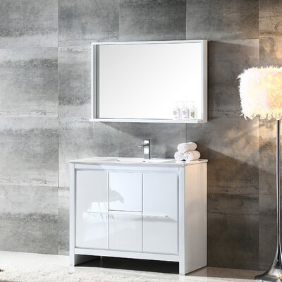 Allier 40 Single Bathroom Vanity Set with Mirror Base Finish: White