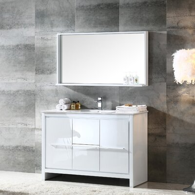 Allier Modern 48 Single Bathroom Vanity Set with Mirror Base Finish: White