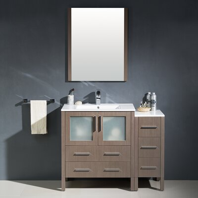 Torino 42 Single Modern Bathroom Vanity Set with Mirror