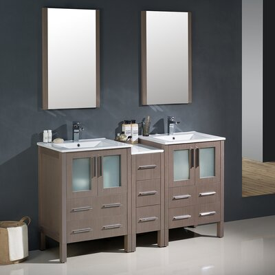 Torino 60 Double Modern Bathroom Vanity Set with Mirror