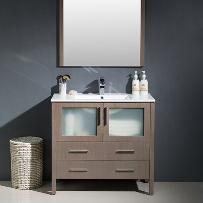 Torino 36 Single Modern Bathroom Vanity Set with Mirror