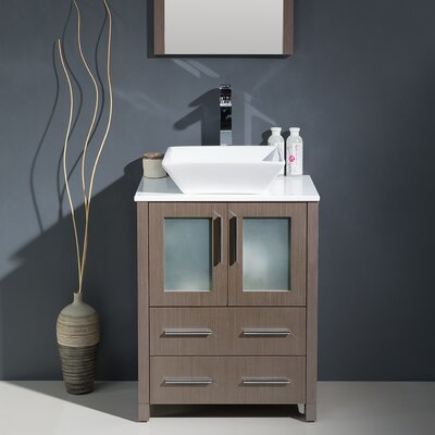 Torino 24 Single Modern Bathroom Vanity Set with Mirror
