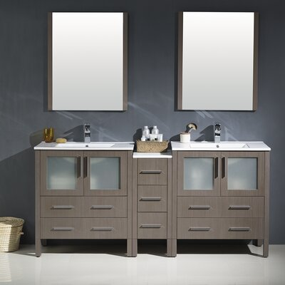 Torino 72 Double Modern Bathroom Vanity Set with Mirror