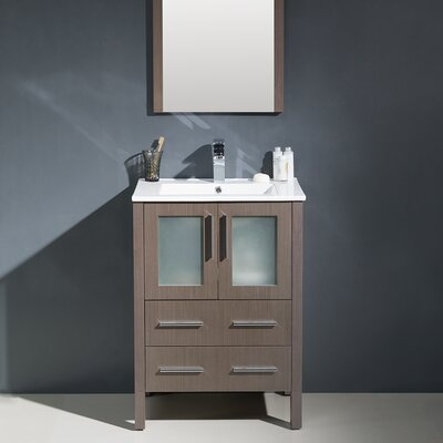 Torino 24 Single Modern Bathroom Vanity Set with Mirror