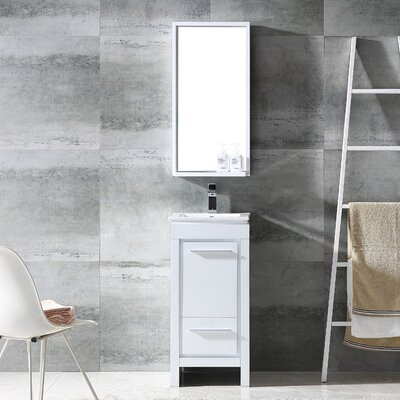 Allier 16 Single Small Modern Bathroom Vanity Set with Mirror Base Finish: White