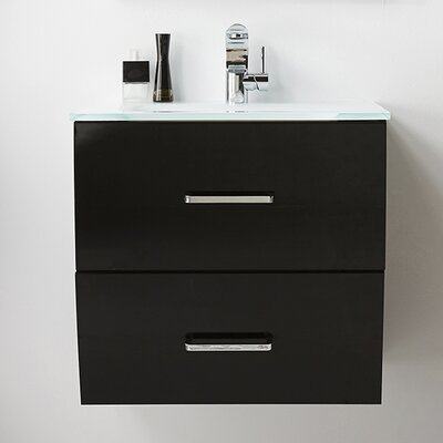 24 Single Bathroom Vanity Set Color: Black