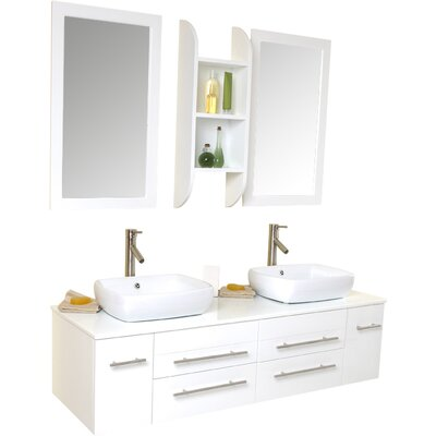 Stella 59 Double Bellezza Modern Vessel Bathroom Vanity Set with Mirrors Base Finish: White