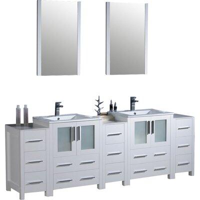 Bari Torino 84 Double Modern Bathroom Vanity Set with Mirrors Base Finish: White