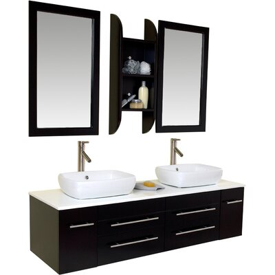 Stella 59 Double Bellezza Modern Vessel Bathroom Vanity Set with Mirrors Base Finish: Espresso