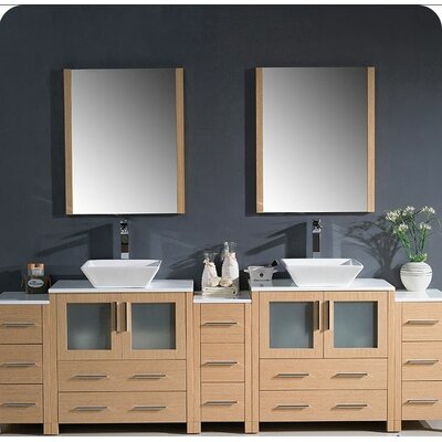 Torino 96 Double Modern Bathroom Vanity Set with Mirror Base Finish: Light Oak