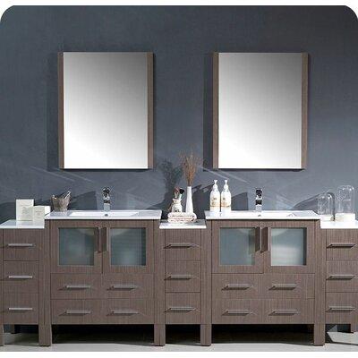 Torino 96 Double Modern Bathroom Vanity Set with Mirror Base Finish: Gray Oak
