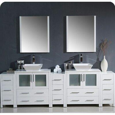 Torino 96 Double Modern Bathroom Vanity Set with Mirror Base Finish: White
