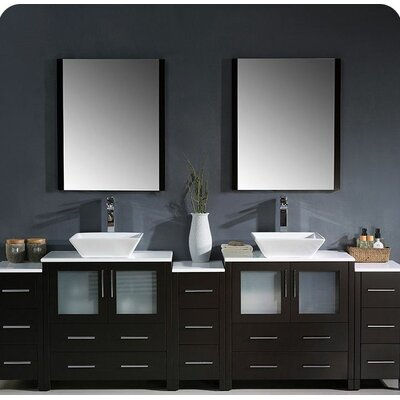 Torino 96 Double Modern Bathroom Vanity Set with Mirror Base Finish: Espresso