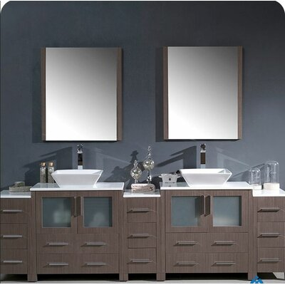 Torino 96 Double Modern Bathroom Vanity Set with Mirror Base Finish: Gray Oak