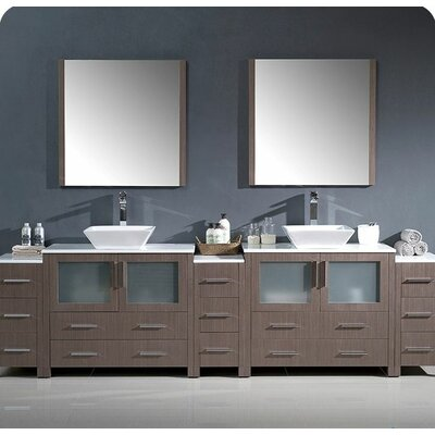 Torino 108 Double Modern Bathroom Vanity Set with Mirror Base Finish: Gray Oak