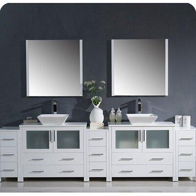 Torino 108 Double Modern Bathroom Vanity Set with Mirror Base Finish: White