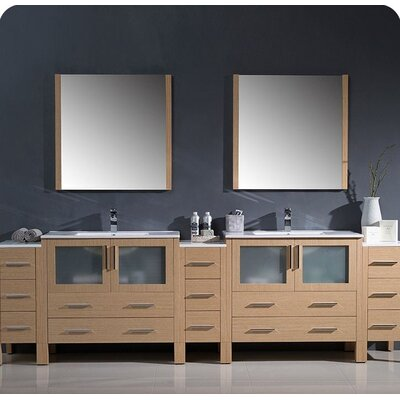 Torino 108 Double Modern Bathroom Vanity Set with Mirror Base Finish: Light Oak