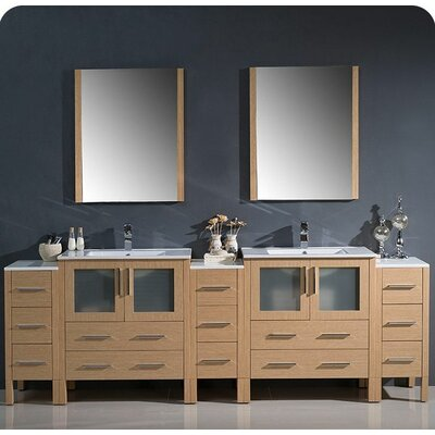 Torino 96 Double Modern Bathroom Vanity Set with Mirror Base Finish: Light Oak