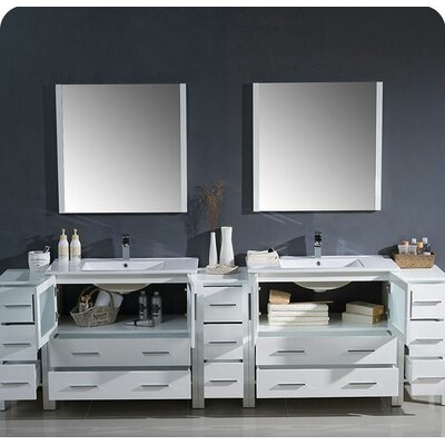 Torino 108 Double Modern Bathroom Vanity Set with Mirror Base Finish: White