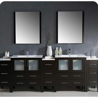 Torino 96 Double Modern Bathroom Vanity Set with Mirror Base Finish: Espresso