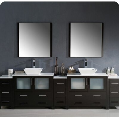 Torino 108 Double Modern Bathroom Vanity Set with Mirror Base Finish: Espresso