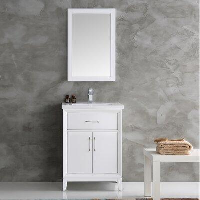 Cambridge 24 Single Bathroom Vanity Set with Mirror Base Finish: White