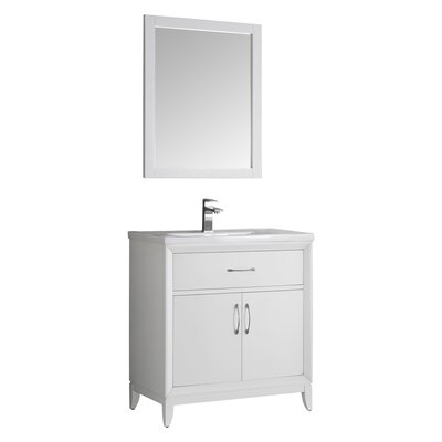 Cambridge 30 Single Bathroom Vanity with Mirror Base Finish: White