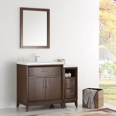 Cambridge 42 Single Traditional Bathroom Vanity Set with Mirror Base Finish: Antique Coffee