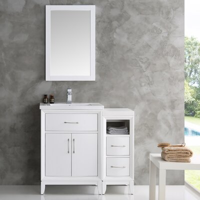 Cambridge 36 Single Traditional Bathroom Vanity Set with Mirror Base Finish: White