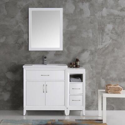 Cambridge 42 Single Traditional Bathroom Vanity Set with Mirror Base Finish: White