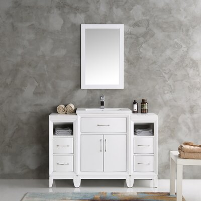 Cambridge 48 Single Traditional Bathroom Vanity Set with Mirror Base Finish: White