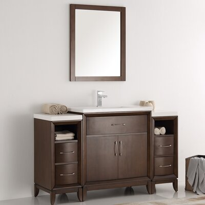 Cambridge 54 Single Bathroom Vanity Set with Mirror Base Finish: Antique Coffee