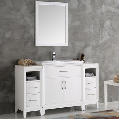 Cambridge 54 Single Bathroom Vanity Set with Mirror Base Finish: White