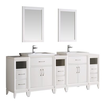 Cambridge 84 Double Traditional Bathroom Vanity Set with Mirror Base Finish: White