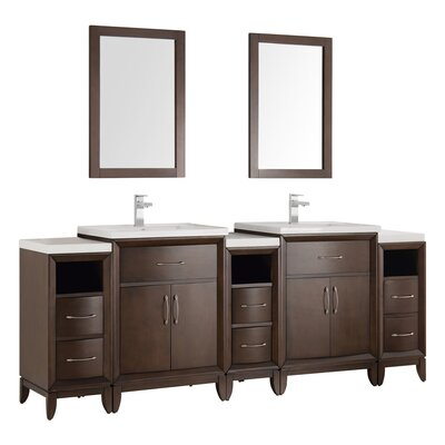 Cambridge 84 Double Traditional Bathroom Vanity Set with Mirror Base Finish: Antique Coffee