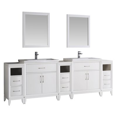 Cambridge 96 Double Traditional Bathroom Vanity Set with Mirror Base Finish: White