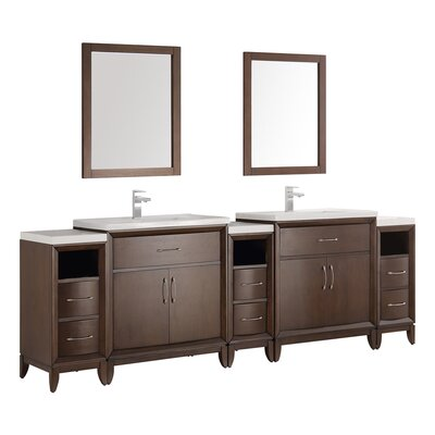 Cambridge 96 Double Traditional Bathroom Vanity Set with Mirror Base Finish: Antique Coffee