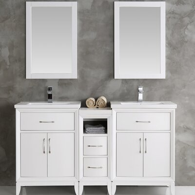 Cambridge 58 Double Bathroom Vanity Set with Mirror Base Finish: White