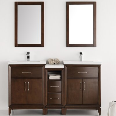 Cambridge 58 Double Bathroom Vanity Set with Mirror Base Finish: Antique Coffee