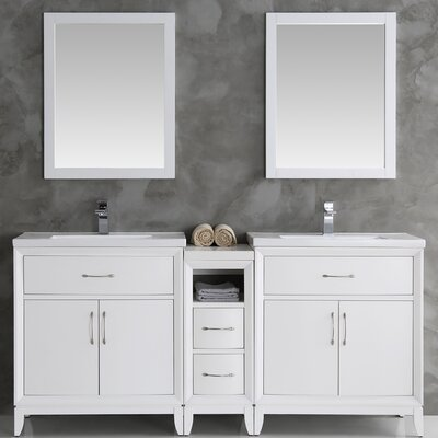 Cambridge 72 Double Bathroom Vanity Set with Mirror Base Finish: White