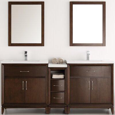 Cambridge 68 Double Bathroom Vanity Set with Mirror Base Finish: Antique Coffee