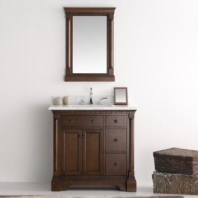 Kingston 36 Single Bathroom Vanity Set with Mirror Base Finish: Antique Coffee